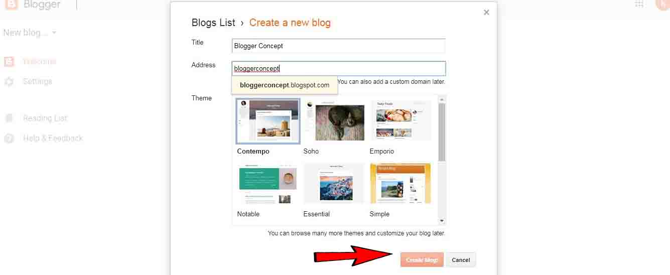 how to create a blog on blogger