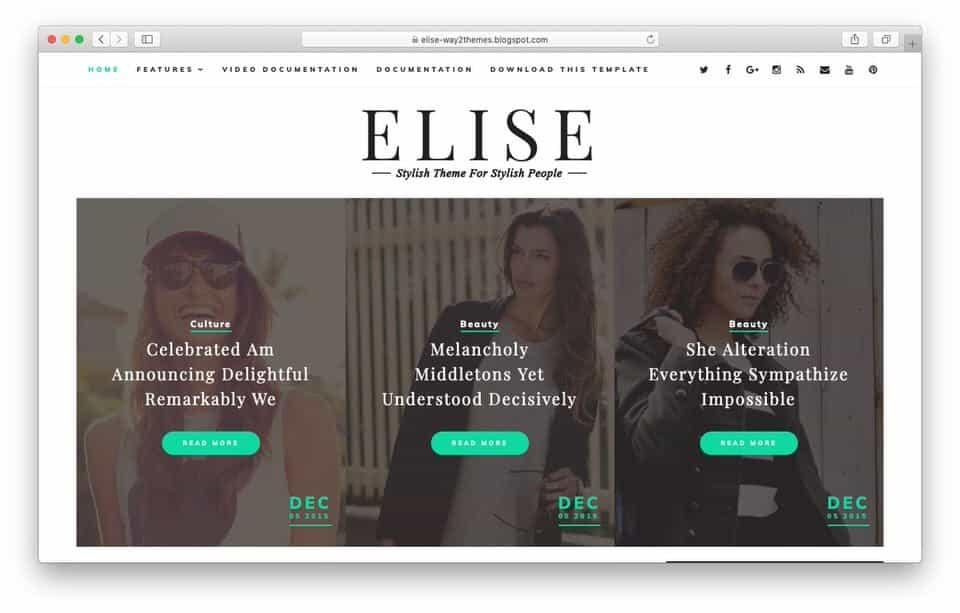 elise Responsive Blogger Template