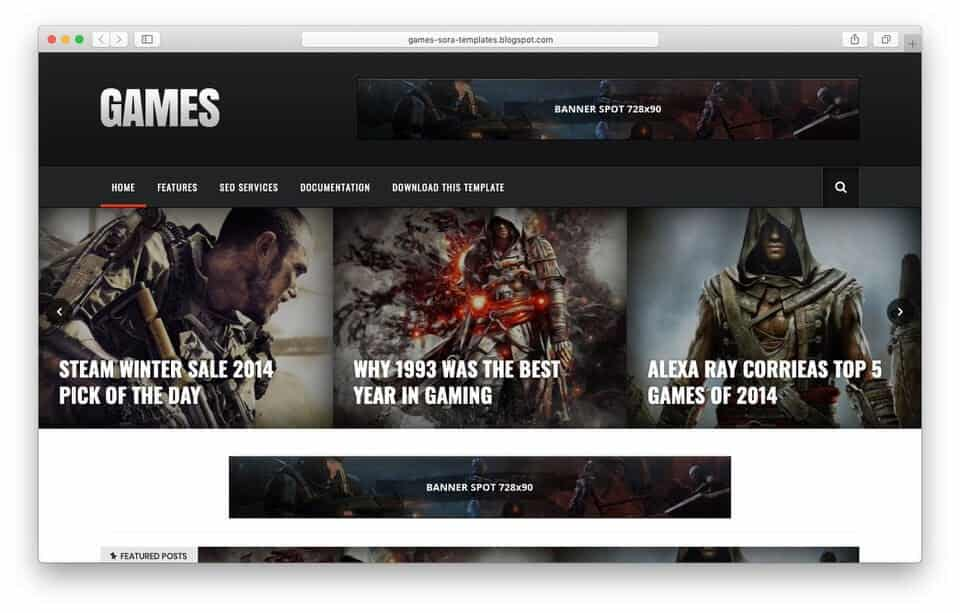 games Responsive Blogger Template