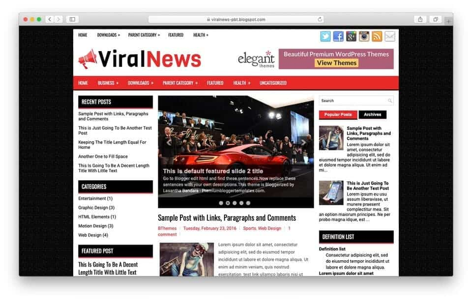 viralnews Responsive Blogger Template