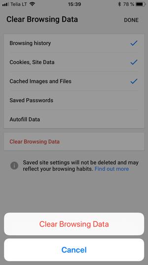 clear cache in chrome ios