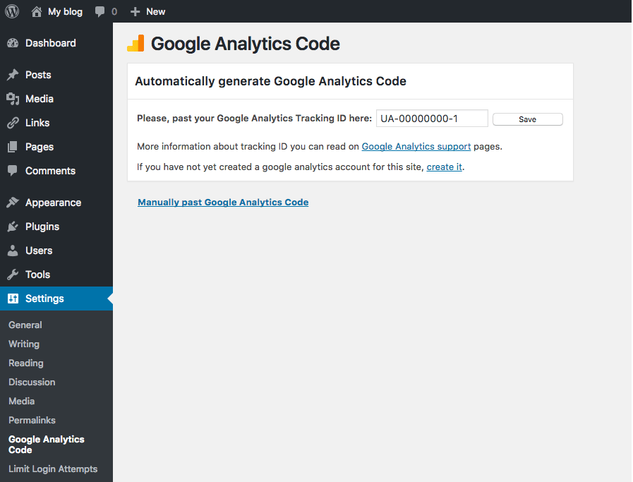 google analytics code add to wordpress