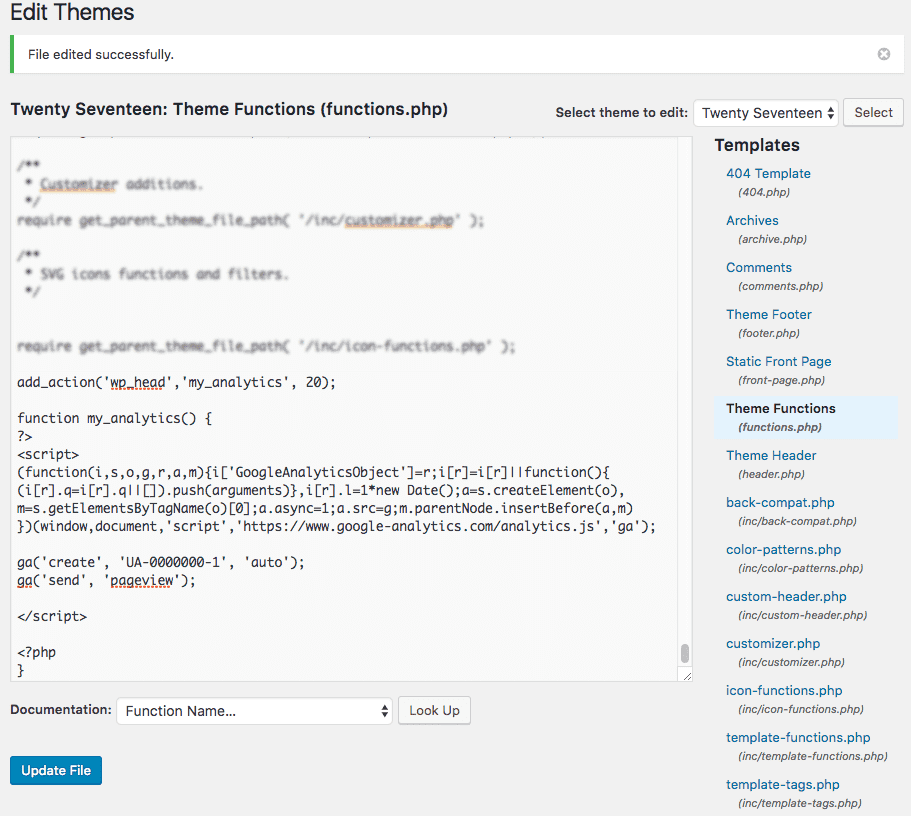 google analytics tracking code adding to functions.php