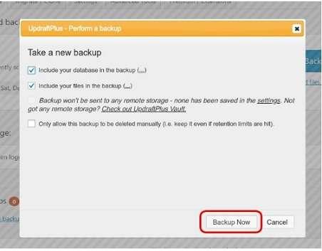 Backup Now in Updraftplus plugin